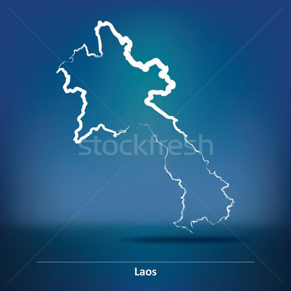 Doodle kaart Laos wereld achtergrond kunst Stockfoto © ojal