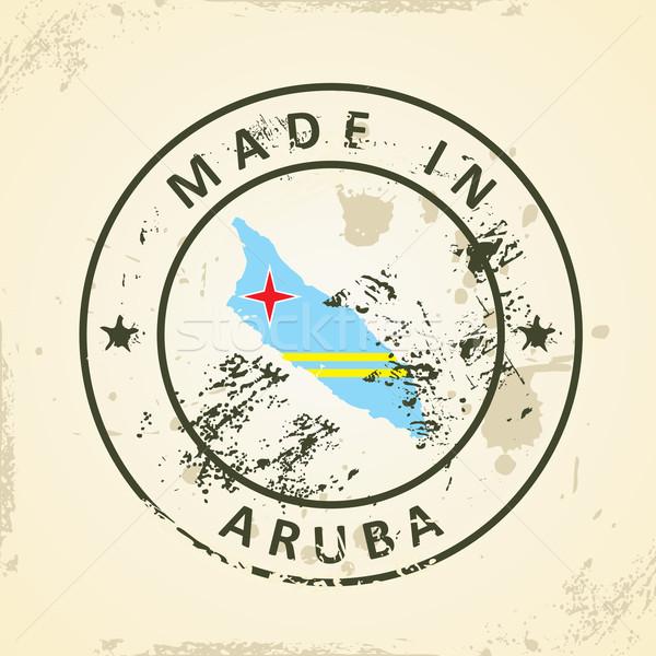 Stamp with map flag of Aruba Stock photo © ojal