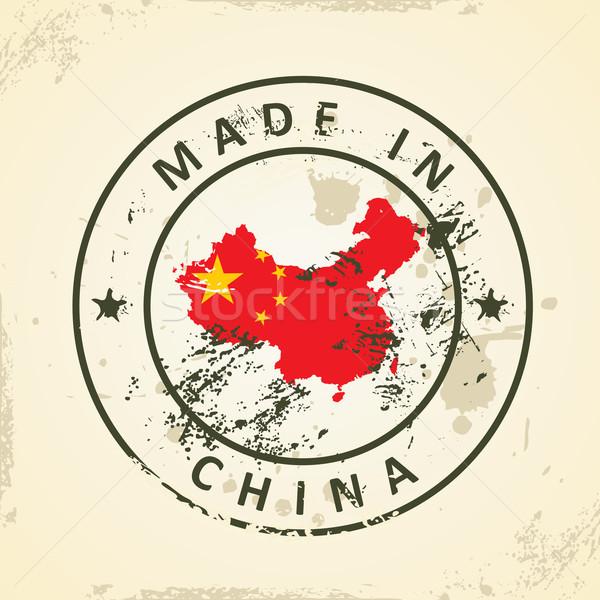 Stock fotó: Bélyeg · térkép · zászló · Kína · grunge · terv