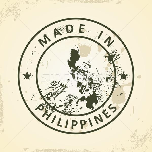 Carimbo mapa Filipinas grunge textura viajar Foto stock © ojal