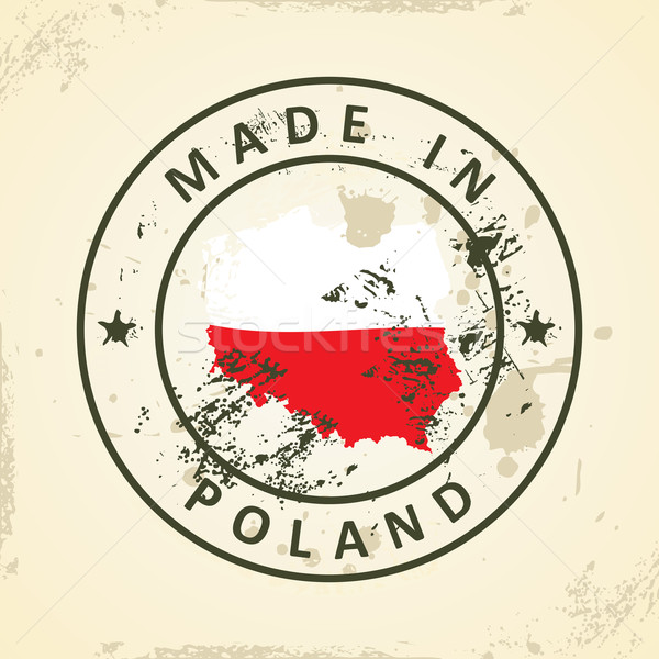 Stamp with map flag of Poland vector illustration © ojal (#7176665 ...