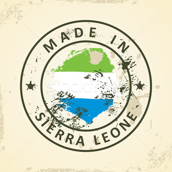 Stamp with map flag of Sierra Leone Stock photo © ojal