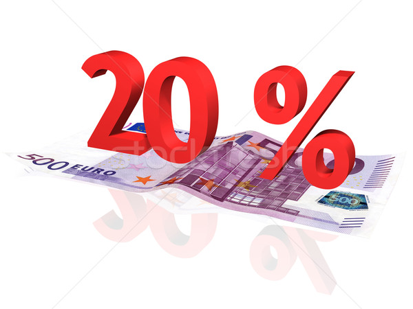 3d rendered 20 % percentage on euro banknote Stock photo © ojal
