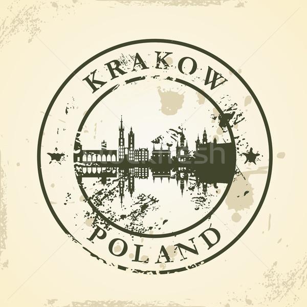 Grunge pecsét Krakkó Lengyelország épület felirat Stock fotó © ojal