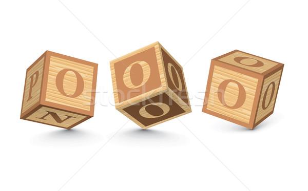 Vektor o betű fából készült ábécé kockák üzlet Stock fotó © ojal