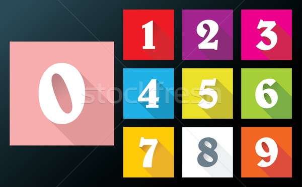 Flat numbers with long shadows for mobil app Stock photo © ojal