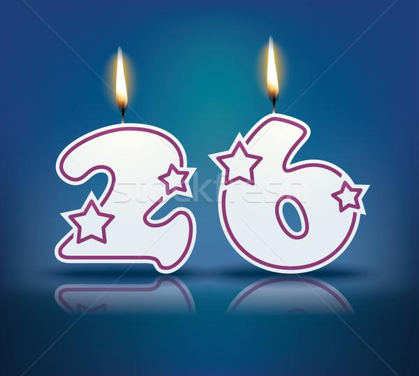 Compleanno candela numero 26 fiamma eps Foto d'archivio © ojal