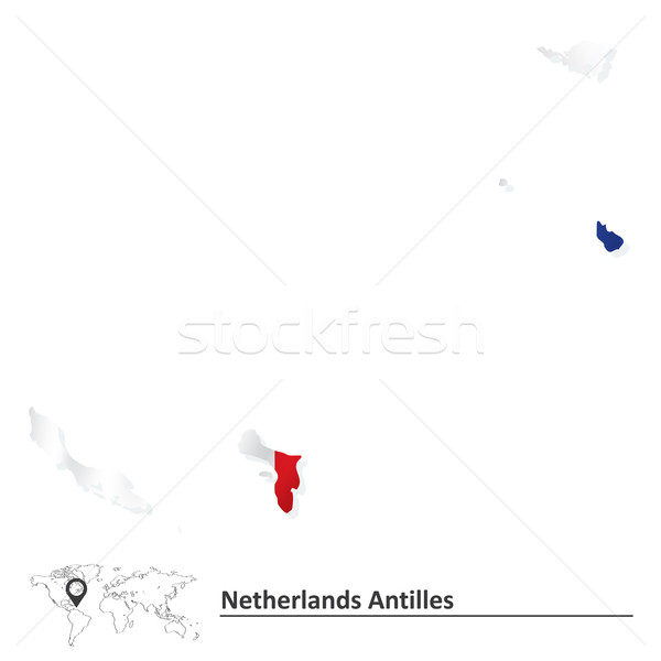 Map of Netherlands Antilles with flag Stock photo © ojal
