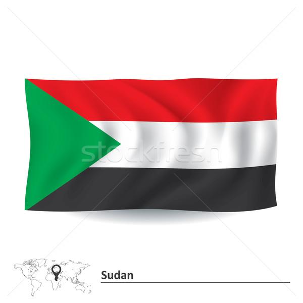 Zászló Szudán textúra felirat zöld piros Stock fotó © ojal