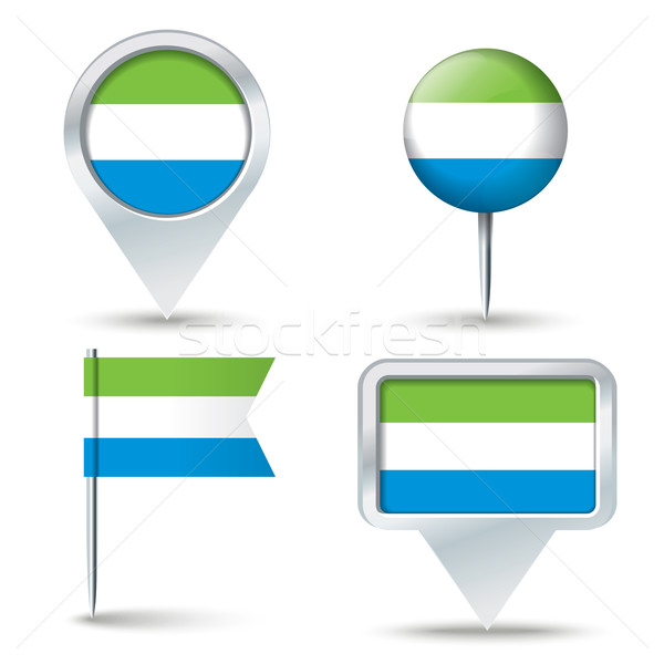 Map pins with flag of Sierra Leone Stock photo © ojal