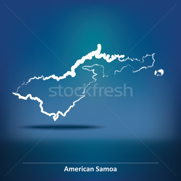 Doodle Map of American Samoa Stock photo © ojal