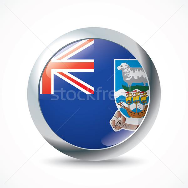 Falkland-szigetek zászló gomb terv felirat sziluett Stock fotó © ojal