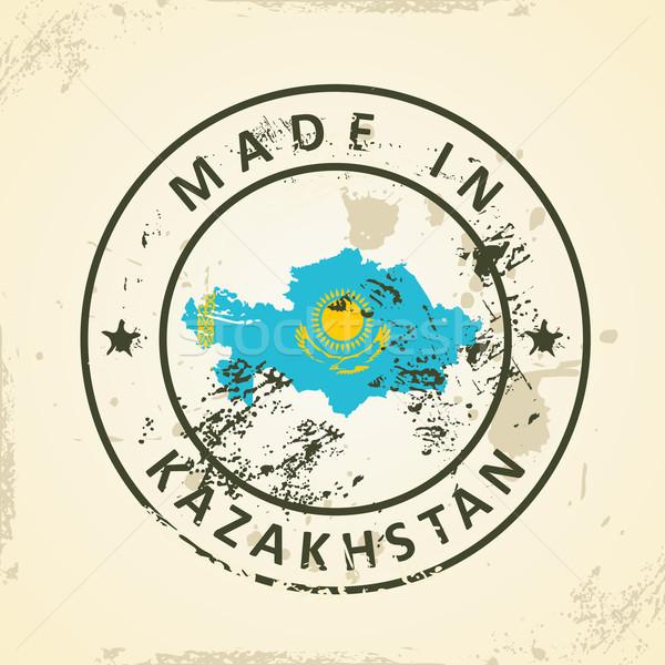 Carimbo mapa bandeira Cazaquistão grunge mundo Foto stock © ojal
