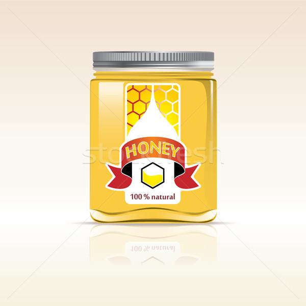 Honing fles ontwerp voedsel vruchten glas Stockfoto © ojal
