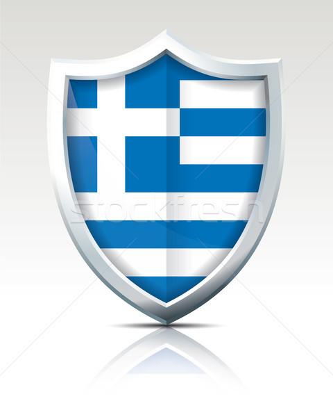 Kalkan Bayrak Yunanistan Dünya Seyahat Boyama Vektör