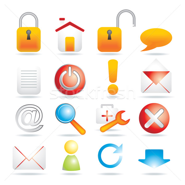 16 web icons business muziek huis internet Stockfoto © ojal