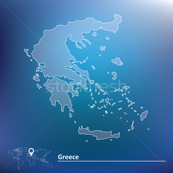Harita Yunanistan Dünya Seyahat Boyama Grafik Vektör