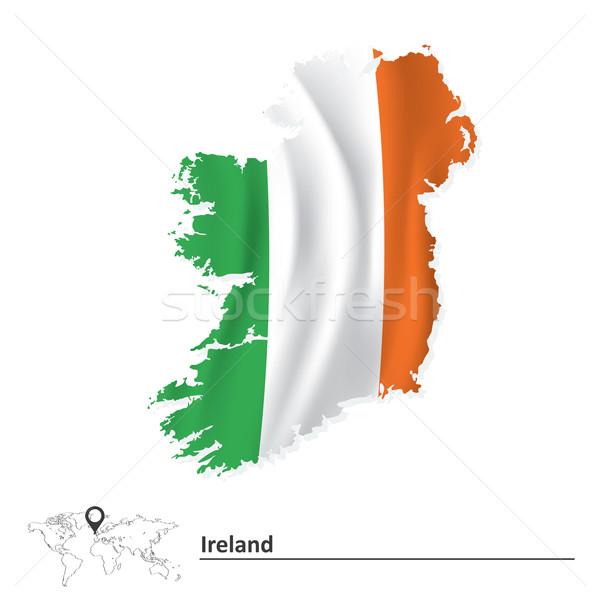Mappa Irlanda bandiera mondo sfondo segno Foto d'archivio © ojal
