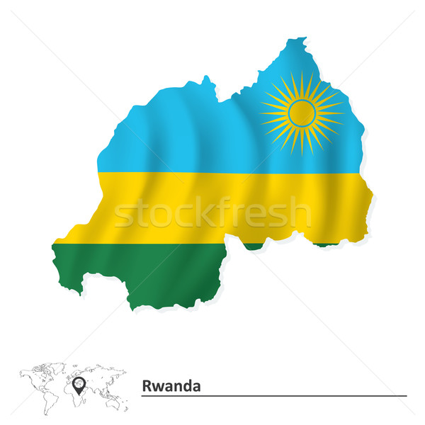 Map of Rwanda with flag Stock photo © ojal
