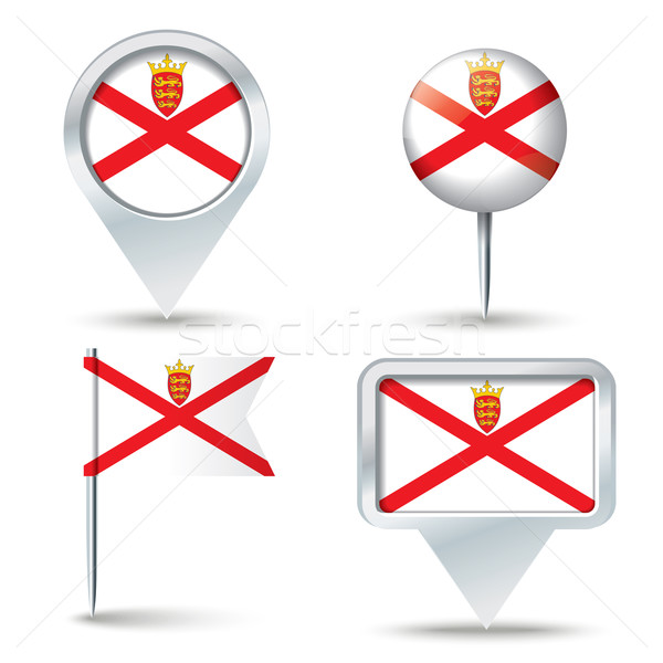 Map pins with flag of Jersey Stock photo © ojal