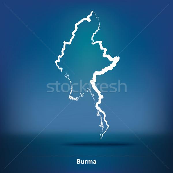 Rabisco mapa birmânia fundo estrela asiático Foto stock © ojal