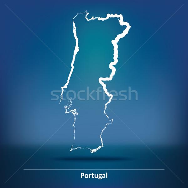 Karalama harita Portekiz arka plan seyahat rüzgâr Stok fotoğraf © ojal