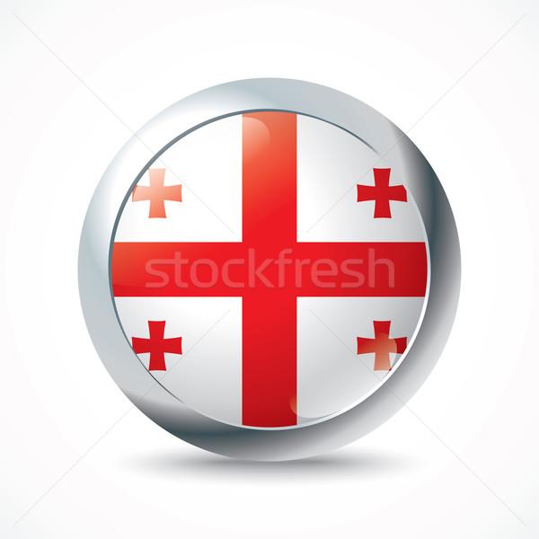Grúzia zászló gomb textúra világ kereszt Stock fotó © ojal