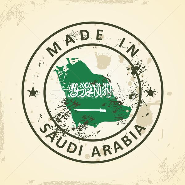 Bélyeg térkép zászló Szaúd-Arábia grunge textúra Stock fotó © ojal