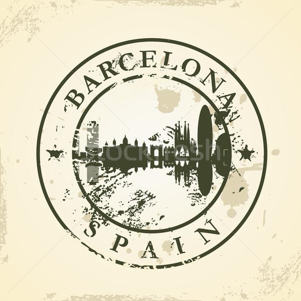 Grunge pecsét Barcelona Spanyolország üzlet ház Stock fotó © ojal