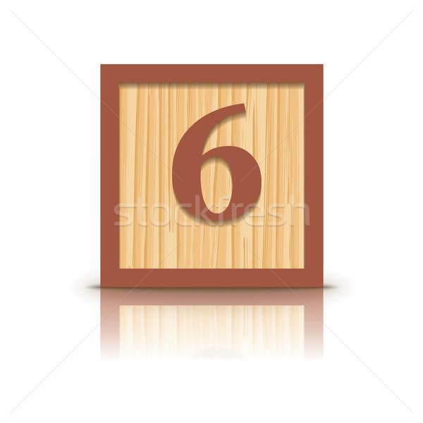 Vector number 6 wooden alphabet block Stock photo © ojal