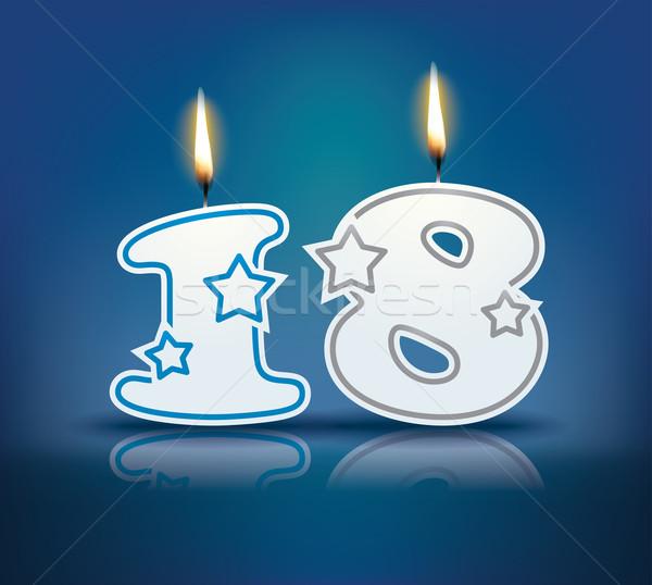 Verjaardag kaars aantal 18 vlam eps Stockfoto © ojal