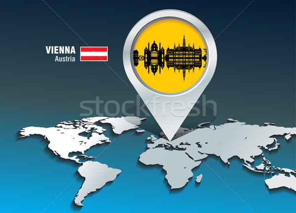 Map pin with Vienna skyline Stock photo © ojal