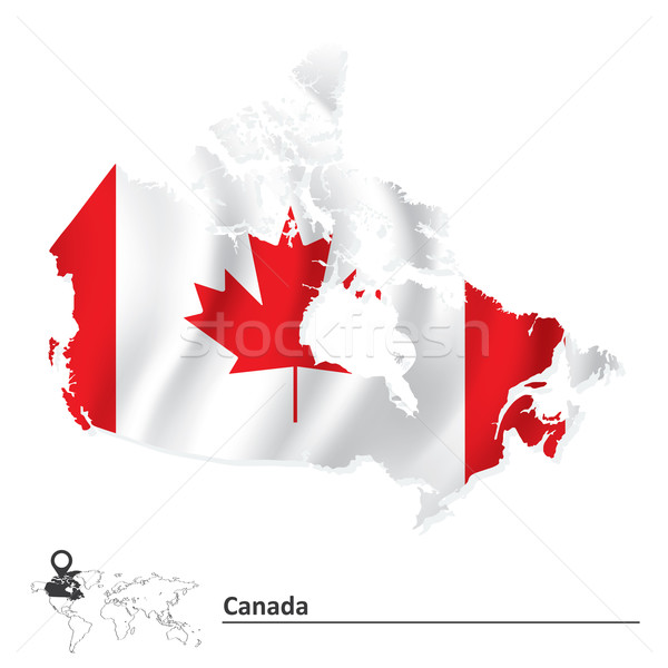 Map of Canada with flag Stock photo © ojal