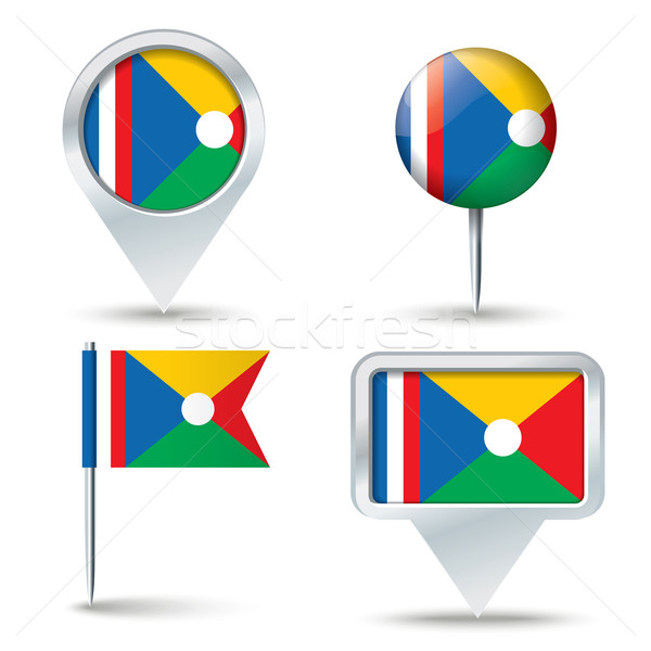 Map pins with flag of Reunion Stock photo © ojal