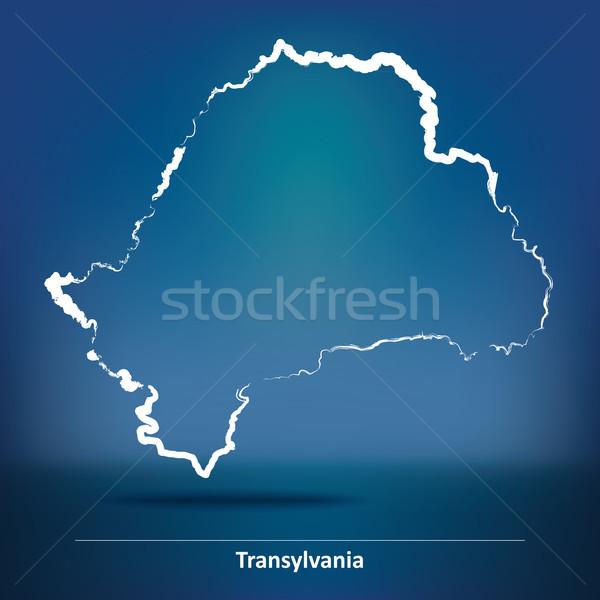 Doodle Map of Transylvania Stock photo © ojal