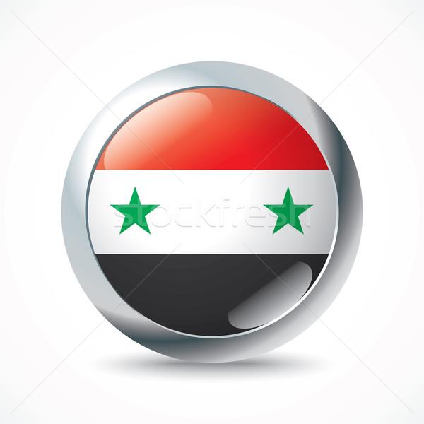 Syrië vlag knop achtergrond groene star Stockfoto © ojal