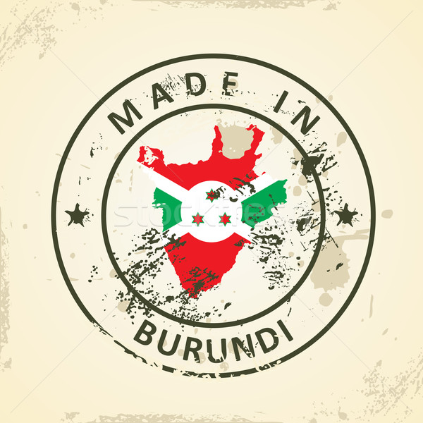 Stamp with map flag of Burundi Stock photo © ojal