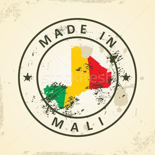 Stamp with map flag of Mali Stock photo © ojal