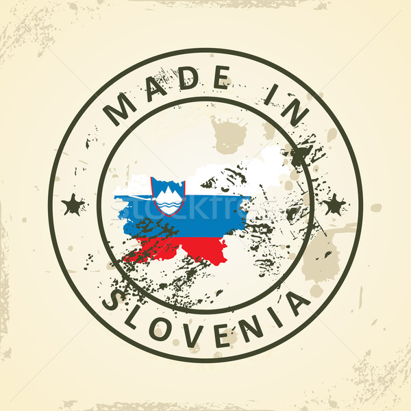 Stamp with map flag of Slovenia Stock photo © ojal