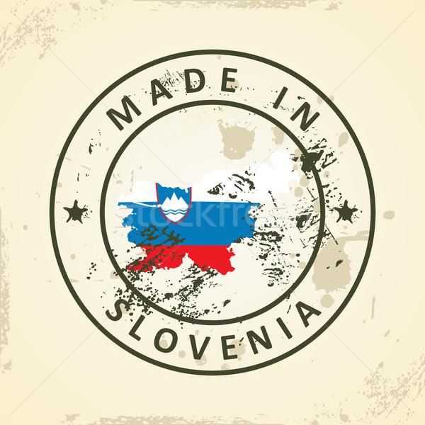 スタンプ 地図 フラグ スロベニア グランジ テクスチャ ストックフォト © ojal