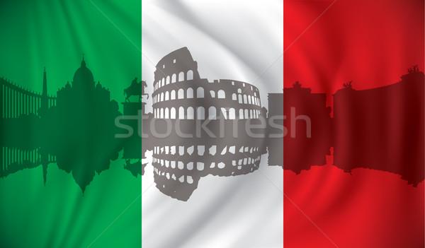 Banderą panoramę niebo budynku miasta budowy Zdjęcia stock © ojal