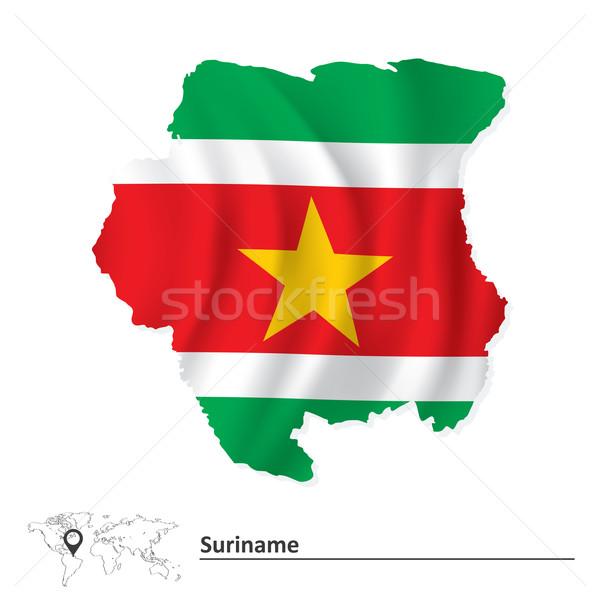 карта Суринам флаг Мир зеленый Африка Сток-фото © ojal
