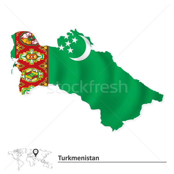 Térkép Türkmenisztán zászló textúra hold háttér Stock fotó © ojal