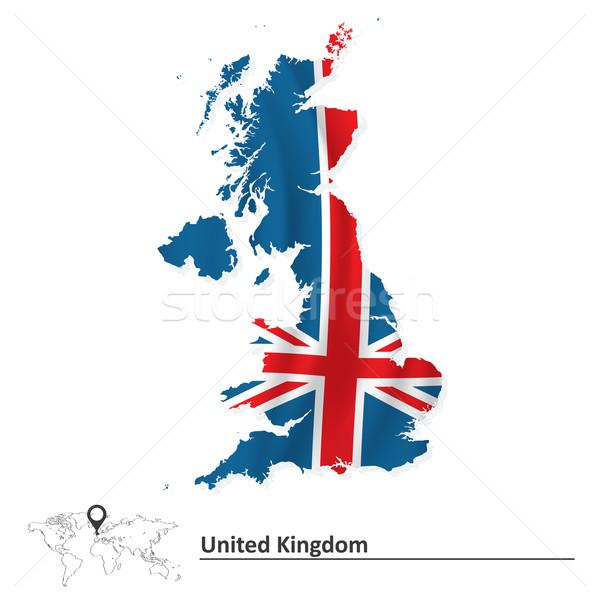 Сток-фото: карта · Великобритания · флаг · морем · крест · фон