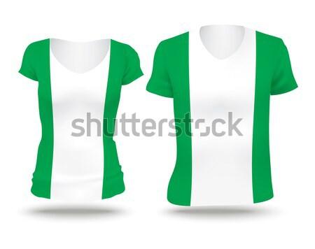 Zdjęcia stock: Banderą · shirt · projektu · Nigeria · kobieta · człowiek