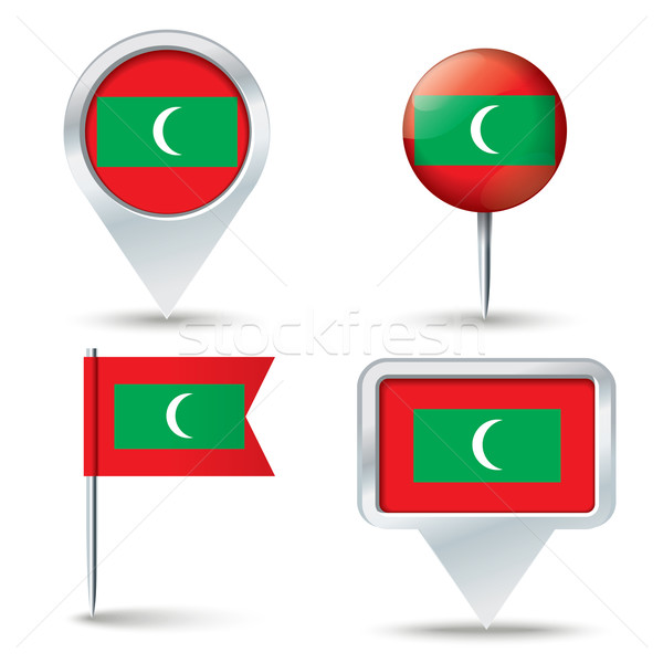 Map pins with flag of Maldives Stock photo © ojal