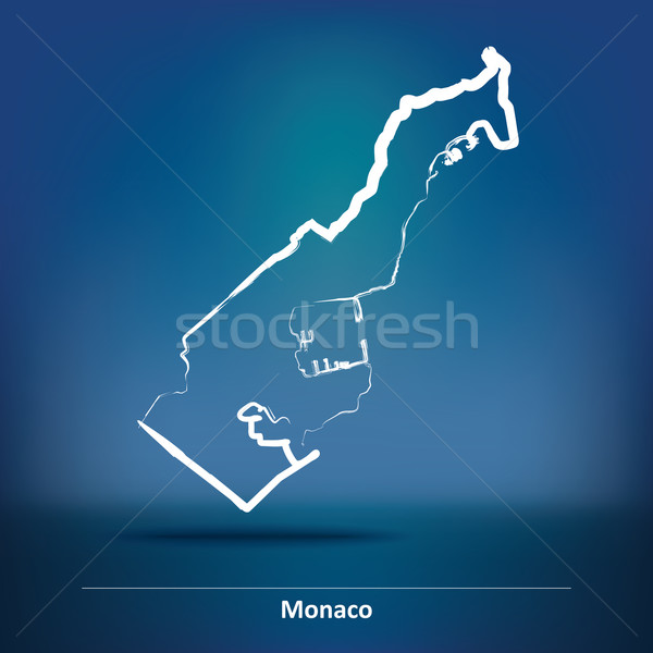 Doodle Map of Monaco Stock photo © ojal