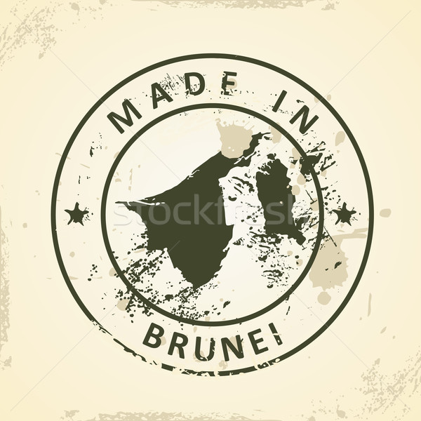 штампа карта Бруней Гранж Мир путешествия Сток-фото © ojal