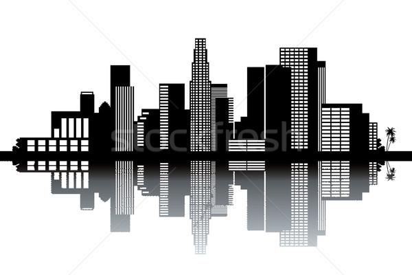 Los Angeles skyline zwart wit business ontwerp kunst Stockfoto © ojal