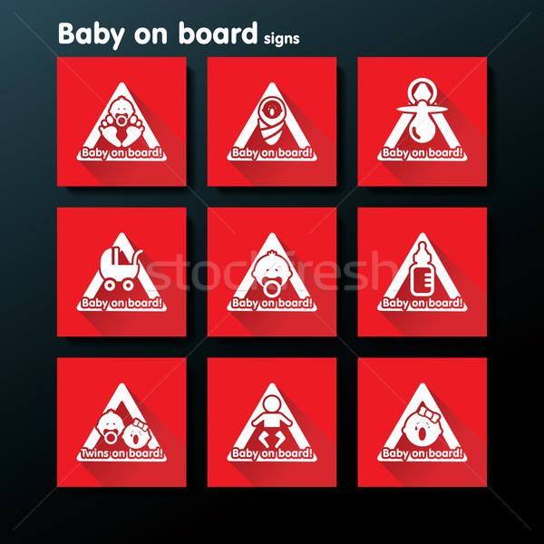 Stockfoto: Vector · baby · boord · teken · ingesteld · familie